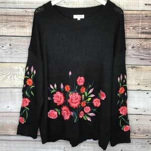 Umgee Embroidered Sweater XL Black Floral 0327